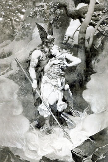 Odin's Farewell to Brunhilde, by Konrad Dielitz