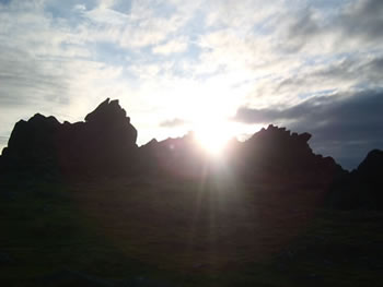 Winter Solstice sunset 2010 at Carn Meini, the source of the Stohenhenge bluestones