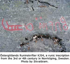 Östergötlands Runinskrifter KJ54, a runic inscription from the 3rd or 4th century in Norrköping, Sweden. Photo by Skvattram.