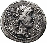 Denarius coin from 42 BCE, depicting the crowned head of Libertas