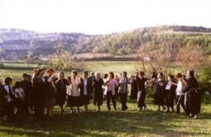 Women dancing on one of the outdoor dance places of Miliás