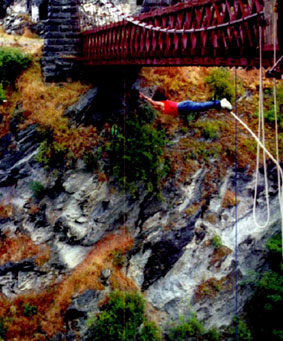 Julie bungee jumping over Shotover River, New Zealand