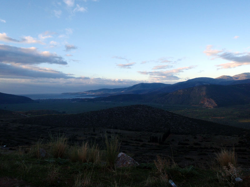A view from the mountains towards Delphi