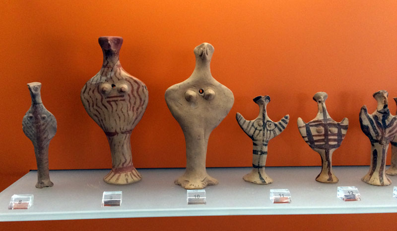 Some of the few clay figurines on display at the Delphi Archaeological Museum from the culture before Apollo. They are called 'worshippers of Gaia'