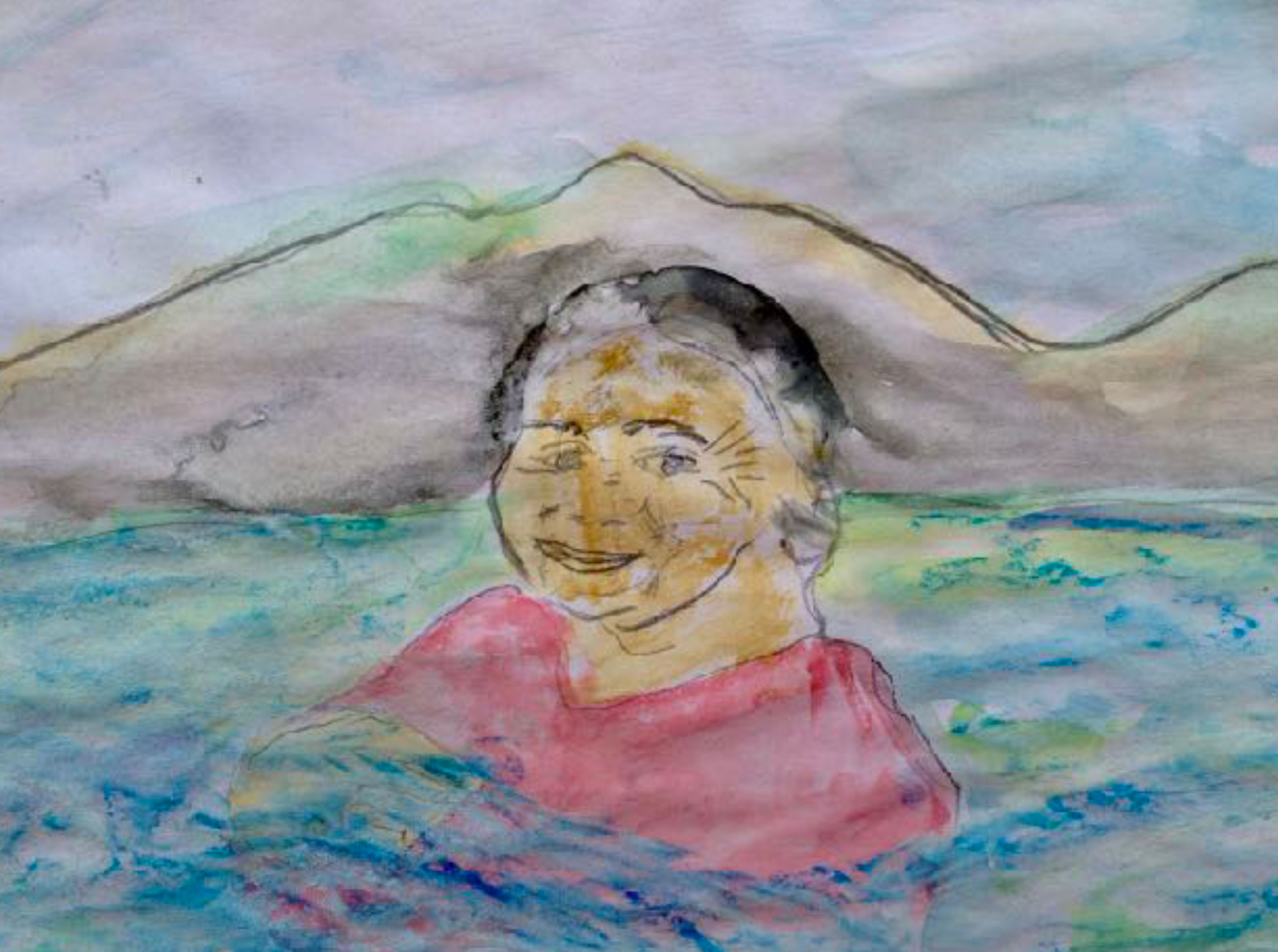Watercolour of Nuestra Señora del Lago Chapala, by Susa Silvermarie
