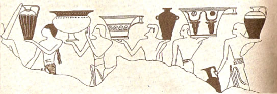 Wall painting from Thebes showing the Keftiu (Minoan) people