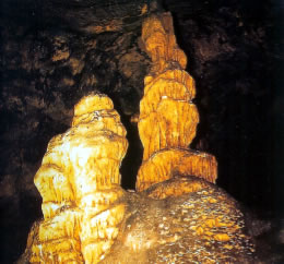 The cave of Eileithyia at Amnisos showing the sacred Mother and Daughter stalagmites