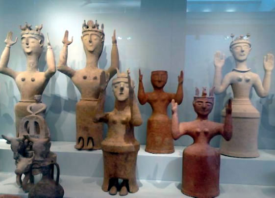 "Goddesses with upraised arms (GUAs) in the recently reopened Heraklion Museum on Crete (from new book ""The Goddess in Crete"")"
