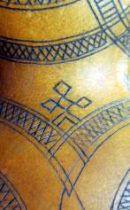 Mountain Goddess figure incised on decorative gourd. [Aegina, early 20th C]