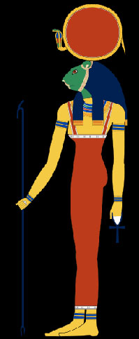 Sekhmet with head of lioness and a solar disk and uraeus on her head