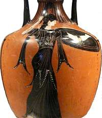 Athena depicted on an amphora from Athens, her favored city. 340-339 BCE, Getty Villa. (Photo by author)
