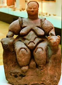 Seated Mother Goddess flanked by two lionesses from Çatalhöyük (Turkey) - from Wikipedia, creative commons Licence, see for details: http://creativecommons.org/licenses/by-sa/2.5/