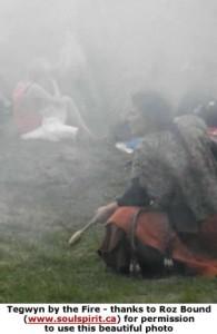 Tegwyn by the fire