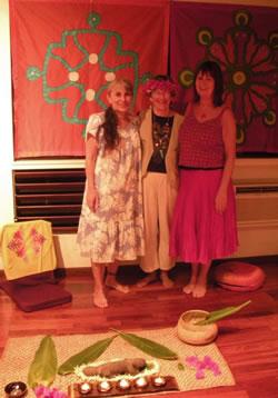 Apela, Lydia and Kathy in the Shrine Room at Pakala