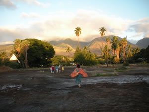 Walking across the site of the Royal Pond with the Lizard mountain beyond