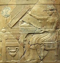"""Pinax of Persephone opening the """"Liknon Mystikon"""". Found in the holy shrine of Persephone at Locri in Italy."""