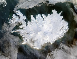 Iceland from Space, 2004 (NASA) - or maybe from Asgard?