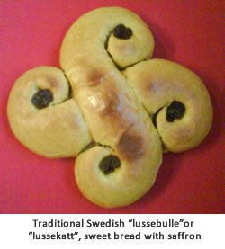 """Traditional Swedish """"lussebulle"""" or """"lussekatt"""", sweet bread with saffron"""