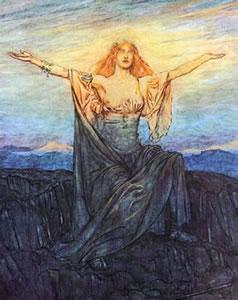 Brynhild wakes and greets the day - Arthur Rackham