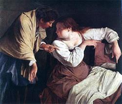 Two women with a mirror - Orazio Gentileschi