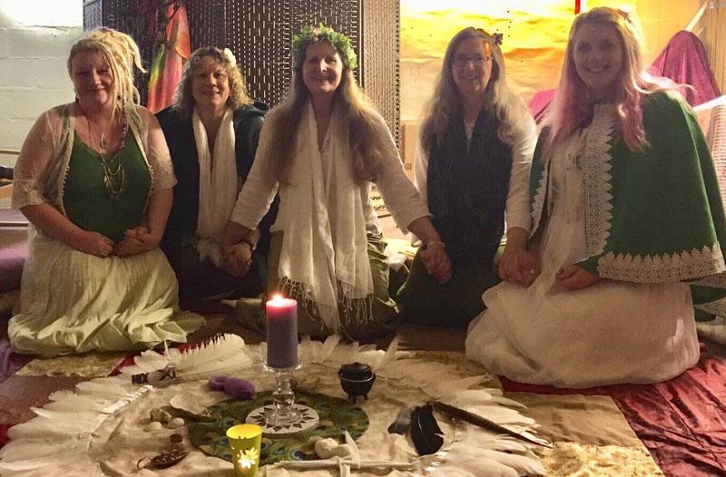 Weavers of Bristol Goddess Temple, Imbolc 2018: Nikki Haasz,  Dawn Osborne-Tiller, Ruth Cogan, Ruth Parham, Nikki Swann