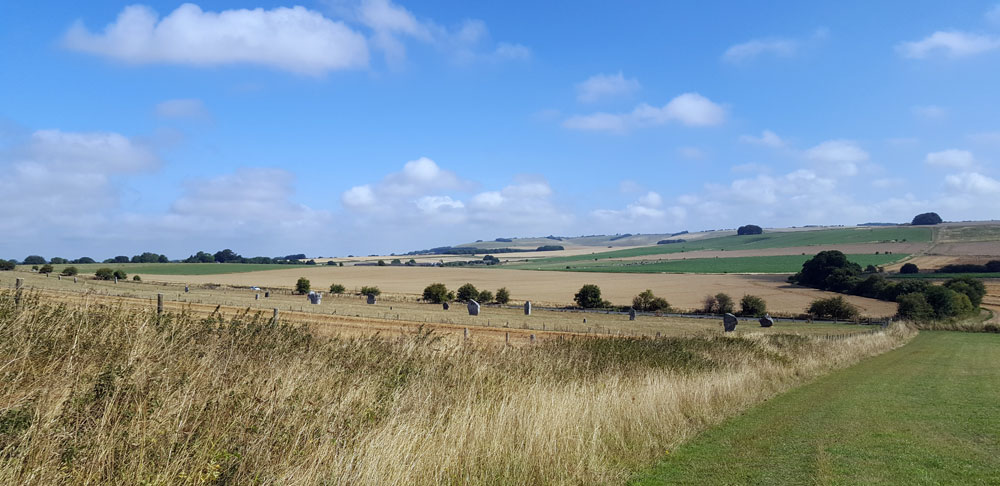 West Kennet Avenue, from Waden Hill, Avebury, photo: Geraldine Charles