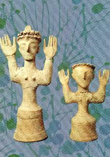 Goddess figurines from Gournia on Crete (Heraklion Museum)