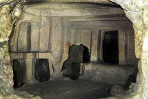 Rock-cut chambers in the Hypogeum