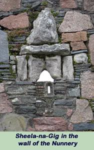 Sheela-na-Gig in the wall of the Nunnery