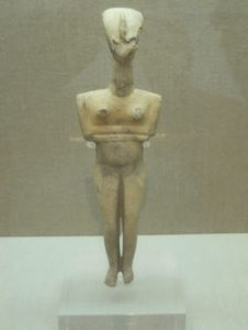 Early cycladic Goddess figurine found at Akrotiri